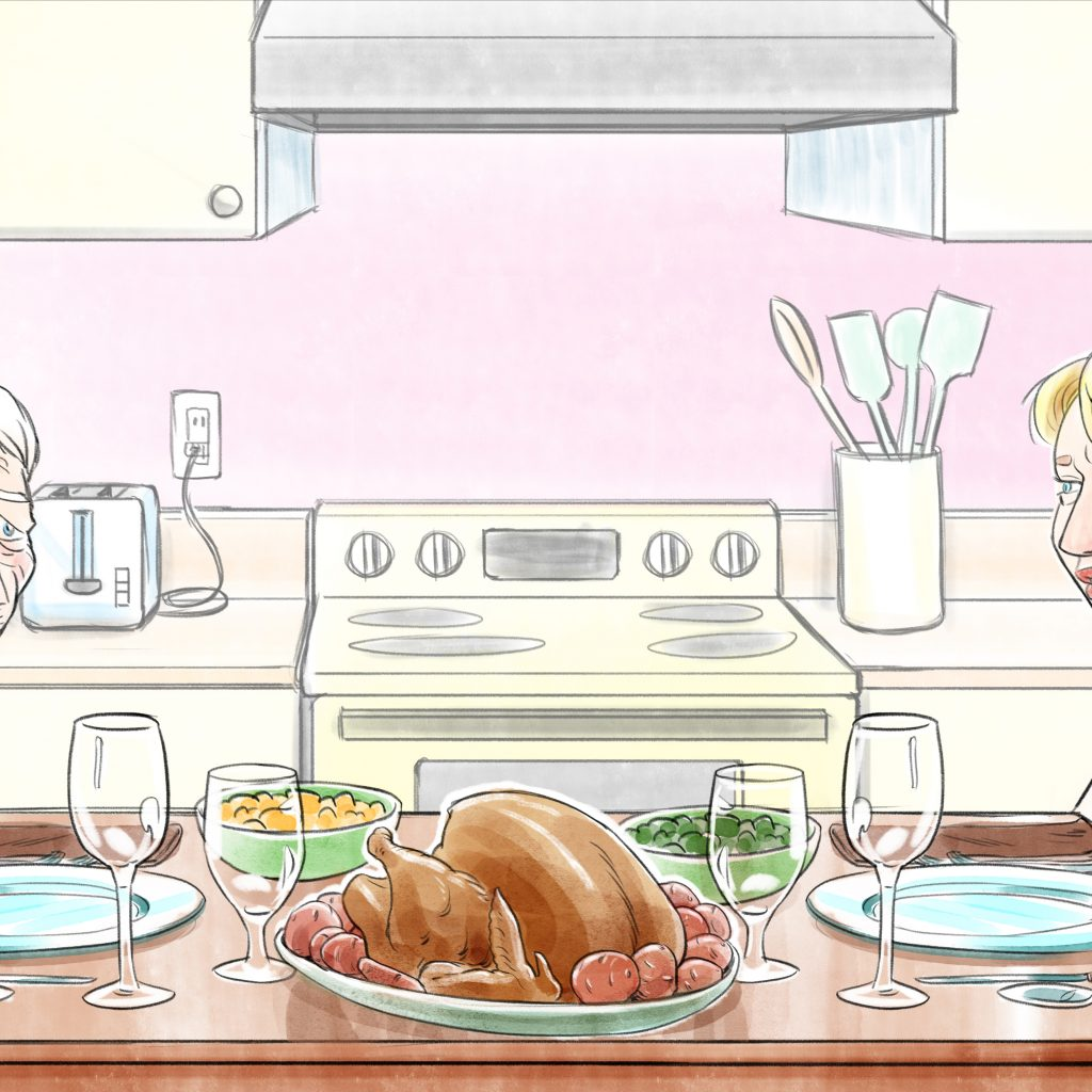 Vitalogue Thanksgiving scene talking about advanced care planning