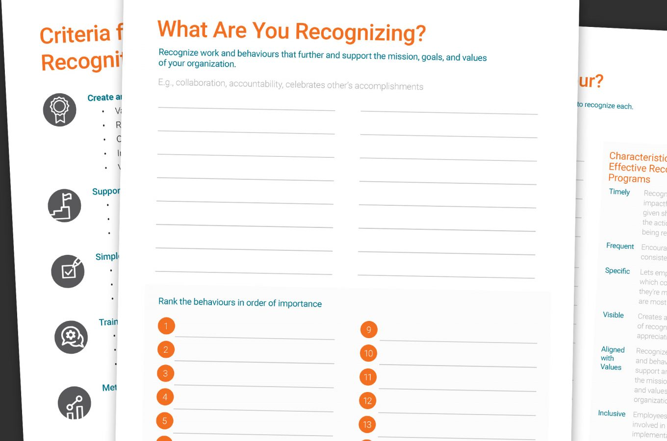 Collage of pages from Rewards & Recognition Job Aid